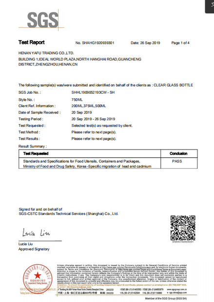 China China Yafu Glassware Co., Ltd. Certificaten